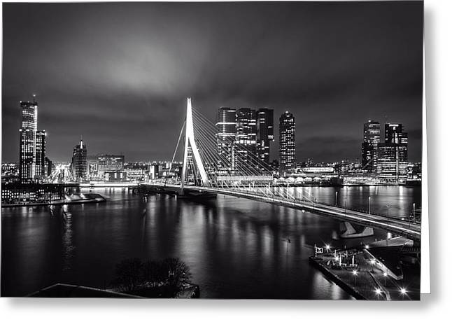 Recently Sold -  - Bay Bridge Greeting Cards - Evening Reflections - Rotterdam  Greeting Card by Dion Doornik
