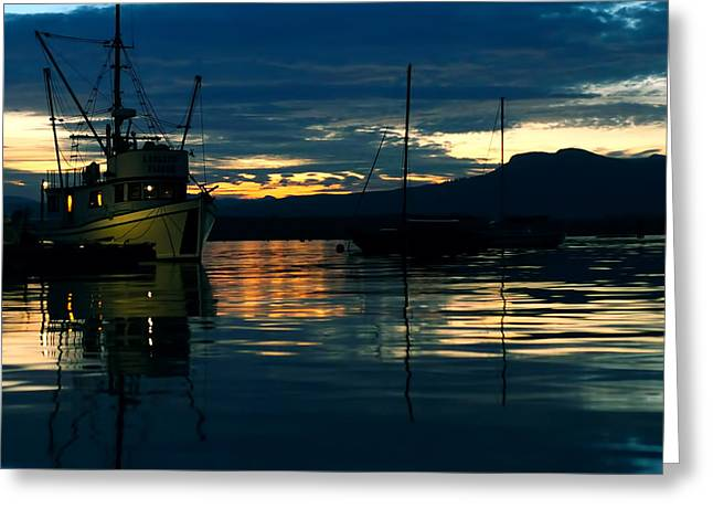 Fishing Boats Greeting Cards - Evening Reflections Greeting Card by Wayne Enslow