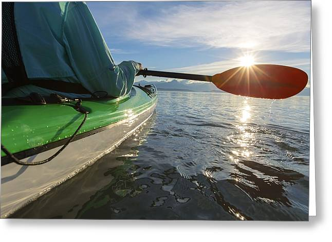 On The Beach Greeting Cards - Evening Sea Kayaking In Lynn Canal Greeting Card by John Hyde