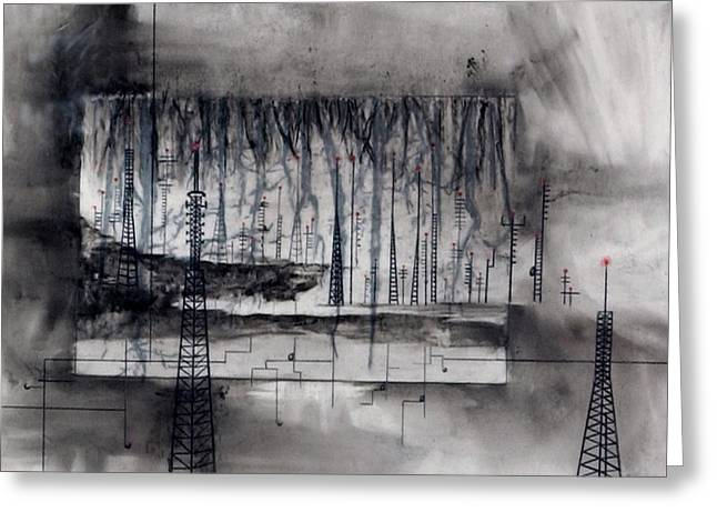 Transmission Drawings Greeting Cards - Eviscerating Lines Greeting Card by Beth Anne Martin