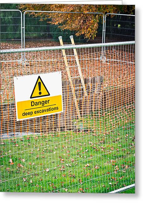 Excavation Sign Greeting Card by Tom Gowanlock
