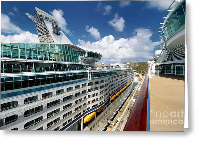 Royal Caribbean Greeting Cards - Explorer of the Seas seen from Adventure of the Seas Greeting Card by Amy Cicconi