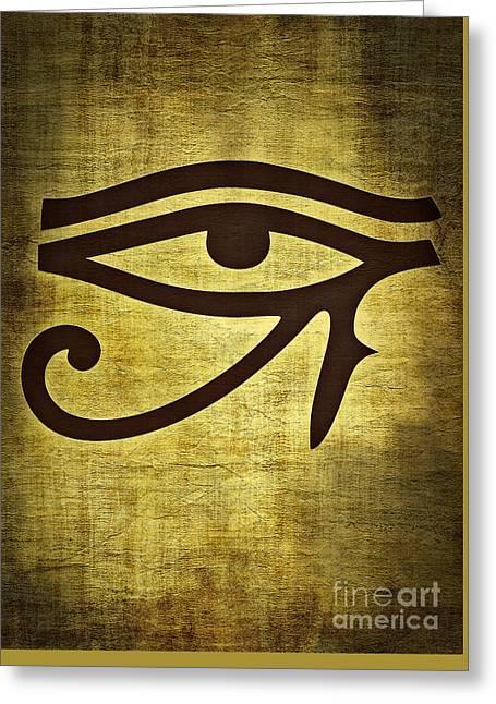 Horus Greeting Cards - Eye of Horus Greeting Card by Binka Kirova
