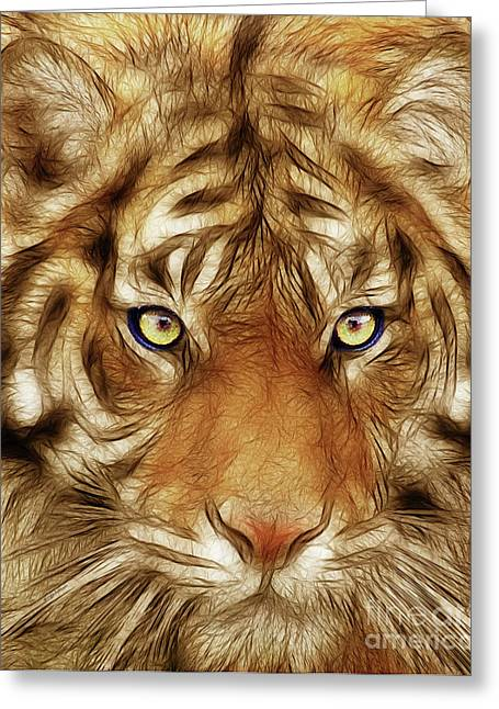 The Tiger Mixed Media Greeting Cards - Eye of The Tiger Greeting Card by Wingsdomain Art and Photography