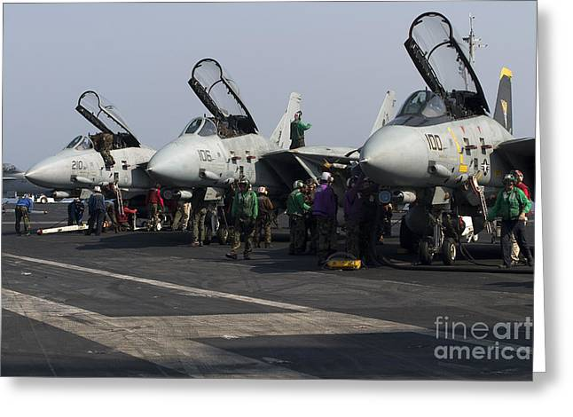 Carrier Greeting Cards - F-14d Tomcats On The Flight Deck Of Uss Greeting Card by Gert Kromhout
