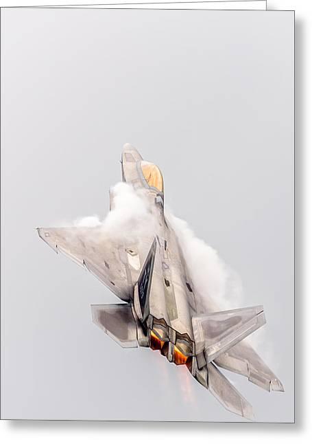 Rockford Greeting Cards - F-22 Raptor Greeting Card by Randy Scherkenbach