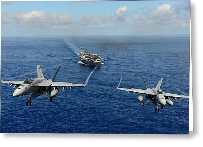 F-18 Paintings Greeting Cards - F A-18 Hornets US Navy Greeting Card by Celestial Images