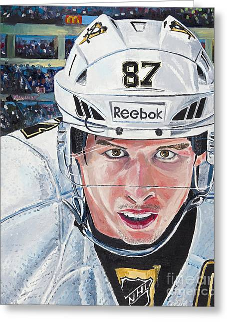 Reebok Greeting Cards - Face Off With Sidney Crosby Greeting Card by Colin Fisher