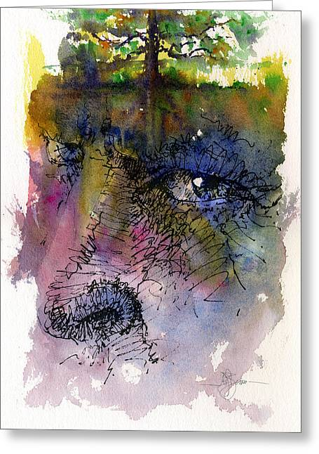 Tree Roots Paintings Greeting Cards - Face with Tree Greeting Card by John D Benson