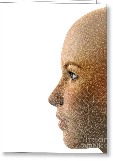 Face Recognition Photographs Greeting Cards - Facemapping, Artwork Greeting Card by Claus Lunau