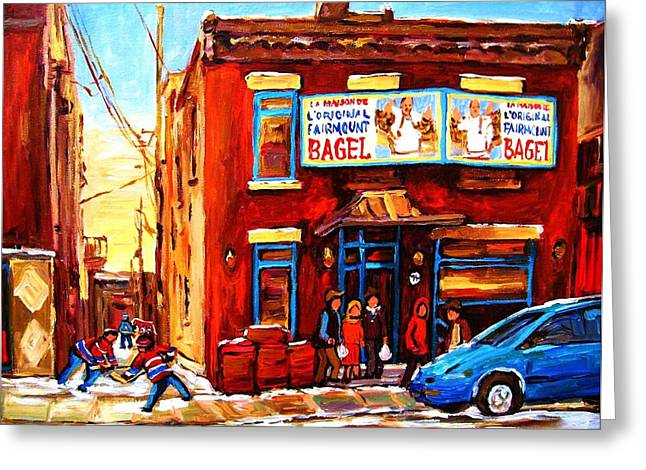 Montreal Winter Scenes Paintings Greeting Cards - Fairmount Bagel in Winter Greeting Card by Carole Spandau
