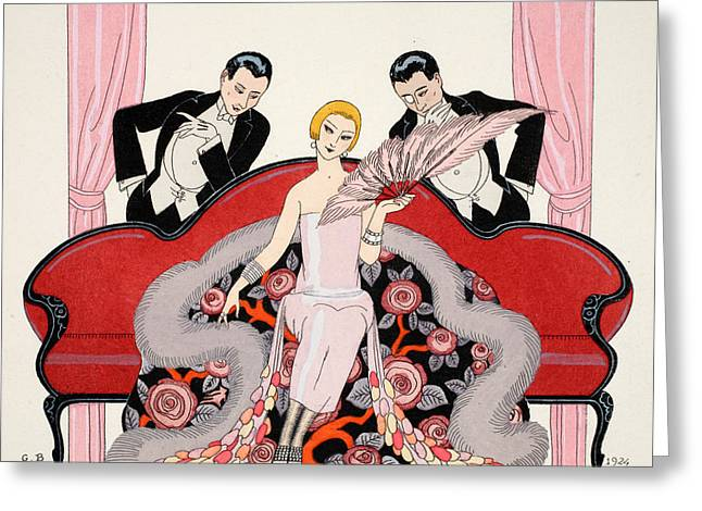 Couch Greeting Cards - Falbalas et fanfreluches Greeting Card by Georges Barbier