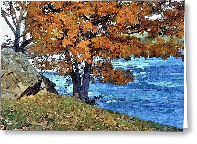 Enhanced Greeting Cards - Fall Colors Along The Susquehanna River Greeting Card by John Trommer