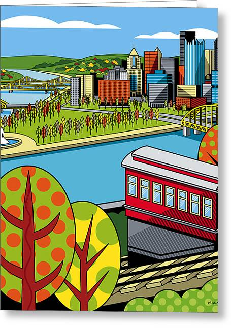 Pittsburgh Digital Greeting Cards - Fall from above II Greeting Card by Ron Magnes