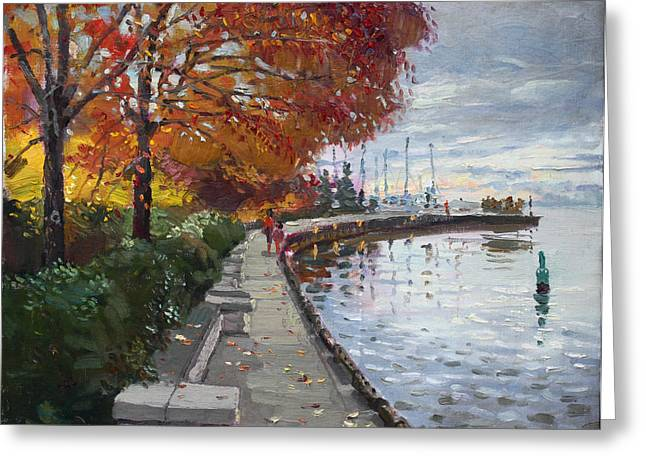 Cloudy Paintings Greeting Cards - Fall in Port Credit ON Greeting Card by Ylli Haruni