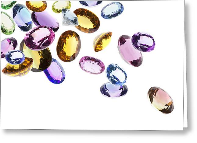 Colorful Jewelry Greeting Cards - Falling Gems Greeting Card by Setsiri Silapasuwanchai