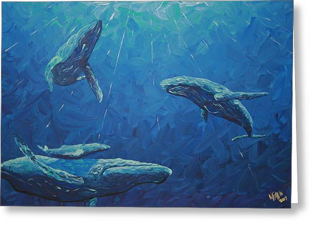 Humpback Whale Paintings Greeting Cards - Family Greeting Card by Nick Flavin