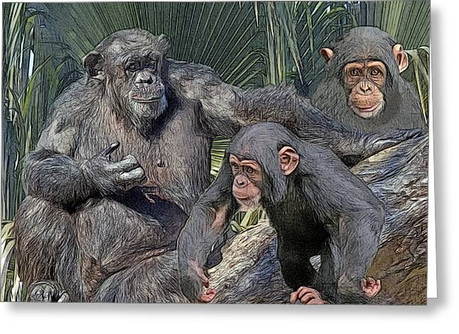 Chimpanzee Digital Greeting Cards - Family Portrait Greeting Card by Larry Linton