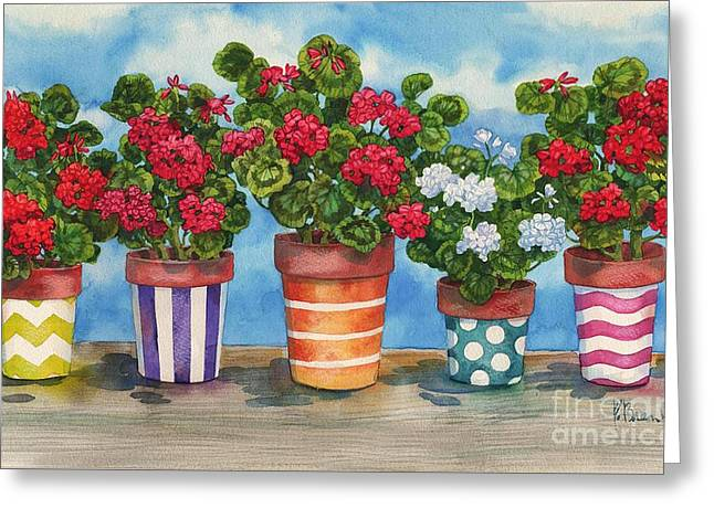 Yellow Flower Pot Greeting Cards - Fancy Pots Geraniums Greeting Card by Paul Brent