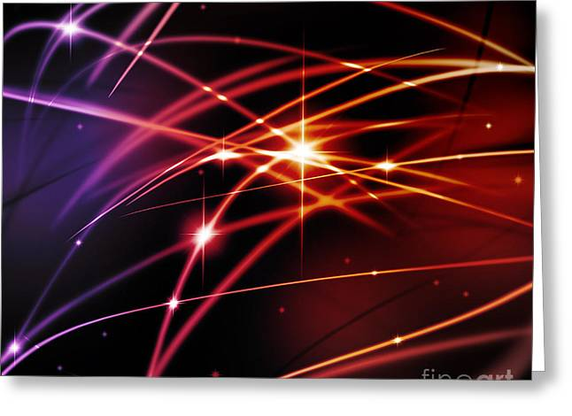 Neon Effects Greeting Cards - Fantastic light line Greeting Card by Atiketta Sangasaeng