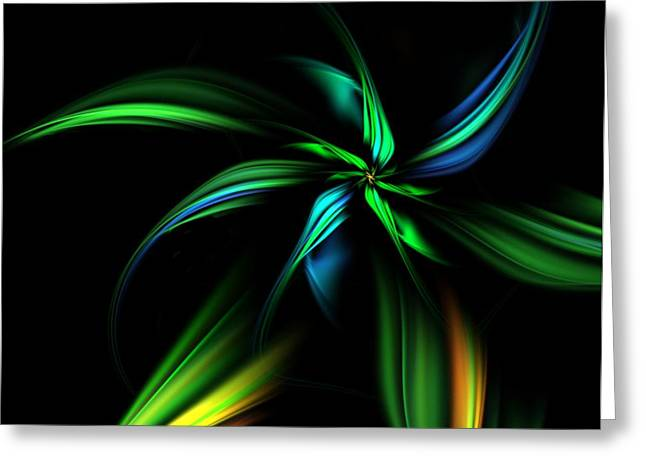 Si-fi Fractal Greeting Cards - Fantasy Flower Greeting Card by David Lane