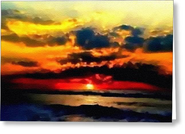 Abstract Digital Pastels Greeting Cards - Fantasy Sunset H B Greeting Card by Gert J Rheeders