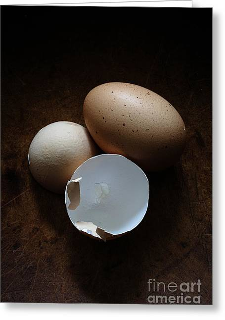 Cracked Eggs Greeting Cards - Farm Fresh Eggs Greeting Card by Edward Fielding