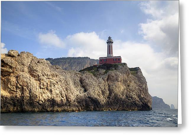 Faro Punta Carena - Capri Greeting Card by Joana Kruse