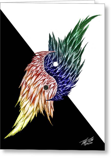 Graphite Digital Greeting Cards - Feathered Ying Yang  Greeting Card by Peter Piatt
