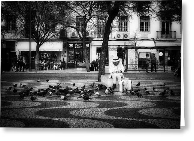 Citizens Greeting Cards - Feeding the Pigeons - Paris Greeting Card by Mladen Milinovic