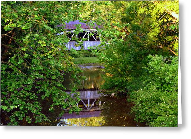 Felton Covered Bridge Ruins Greeting Card by Lisa Wooten