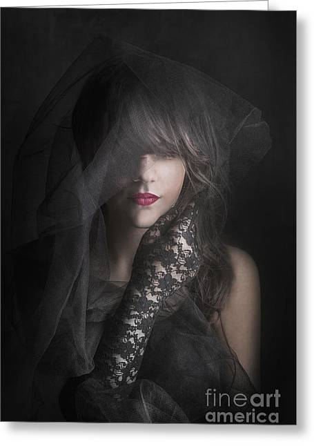 Lace Glove Greeting Cards - Female Portrait Greeting Card by Jelena Jovanovic