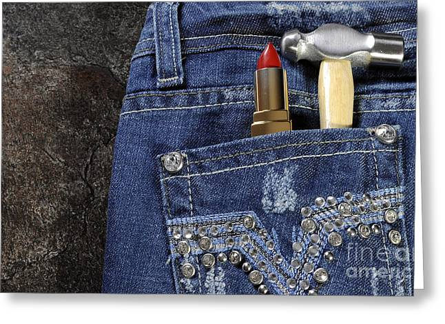 Industrial Background Greeting Cards - Female worker blue jeans with rhinestone decoration Greeting Card by Milleflore Images