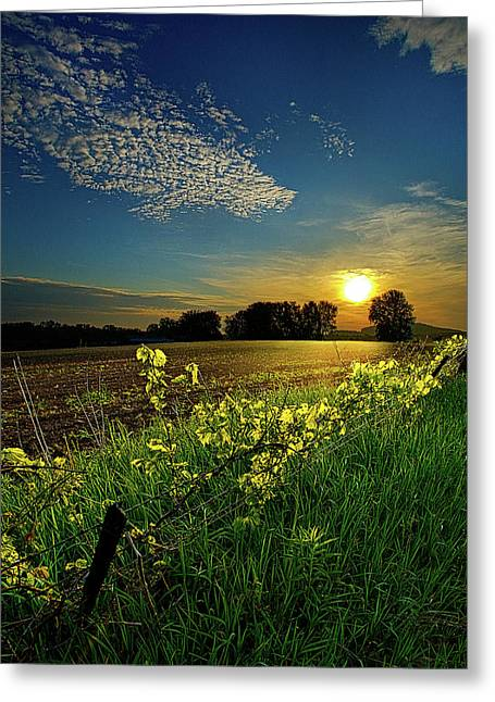 Field. Cloud Greeting Cards - Fence Line Greeting Card by Phil Koch