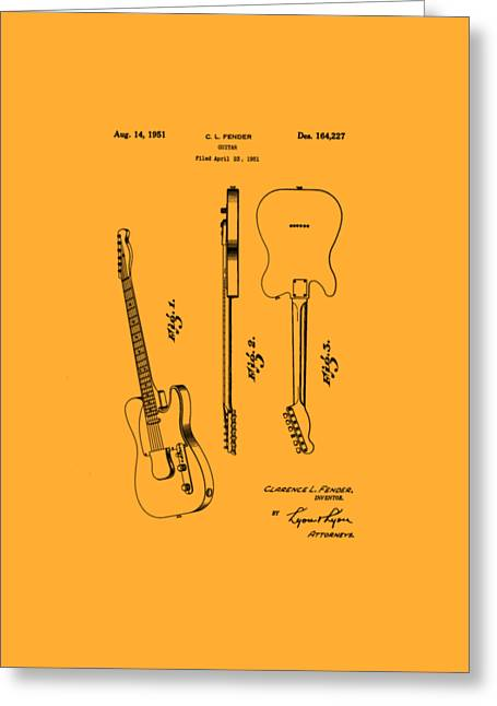 1951 Drawings Greeting Cards - Fender 1951 Electric Guitar Patent Art - B  Greeting Card by Barry Jones