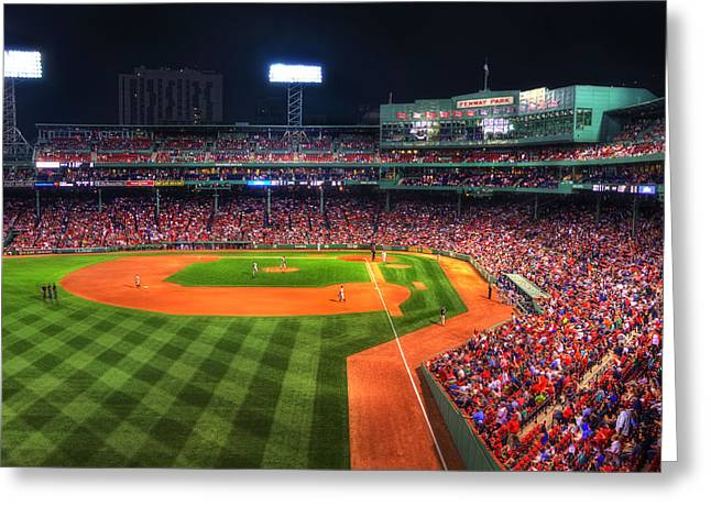 Fenway Park At Night - Boston Greeting Card by Joann Vitali