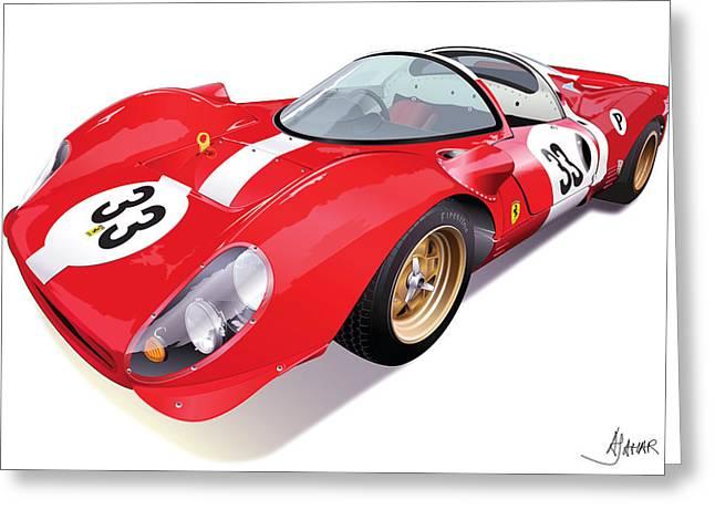Automotive Art Greeting Cards - Ferrari 330 P4 Greeting Card by Alain Jamar
