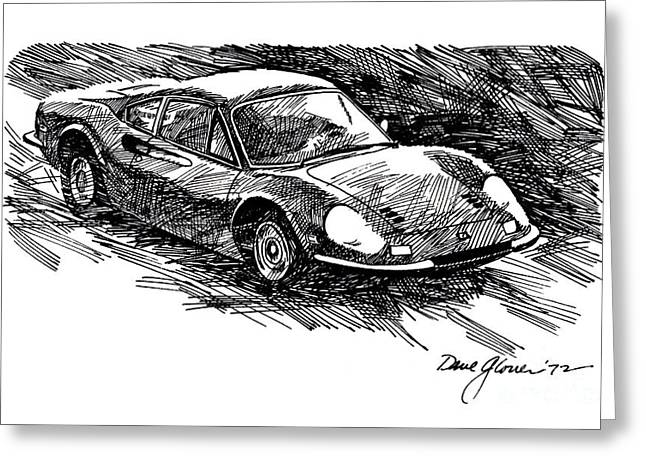 Exotic Drawings Greeting Cards - Ferrari Dino Greeting Card by David Lloyd Glover