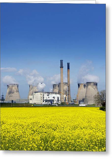 Environmental Science Greeting Cards - Ferrybridge Power Station And Rape Field Greeting Card by Mark Sykes