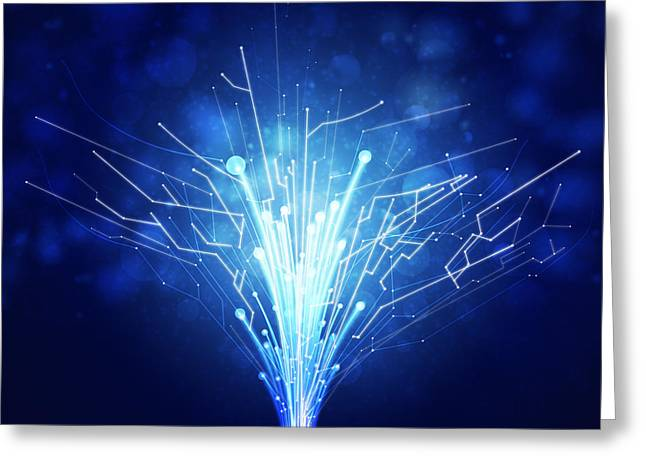 Concept Photographs Greeting Cards - Fiber Optics And Circuit Board Greeting Card by Setsiri Silapasuwanchai