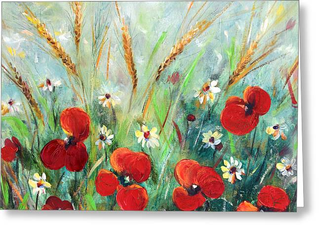 Greeting Cards - Field Flowers Greeting Card by Gina De Gorna