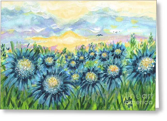Field Of Blue Flowers Greeting Card by Holly Carmichael