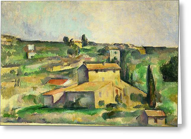 Fields At Bellevue  Greeting Card by Paul Cezanne