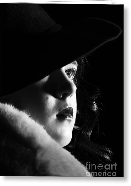 Film Noir Woman Greeting Card by Amanda And Christopher Elwell
