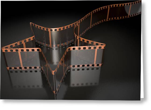Filmstrip Greeting Cards - Film Strip Shooting Star Curled Greeting Card by Allan Swart