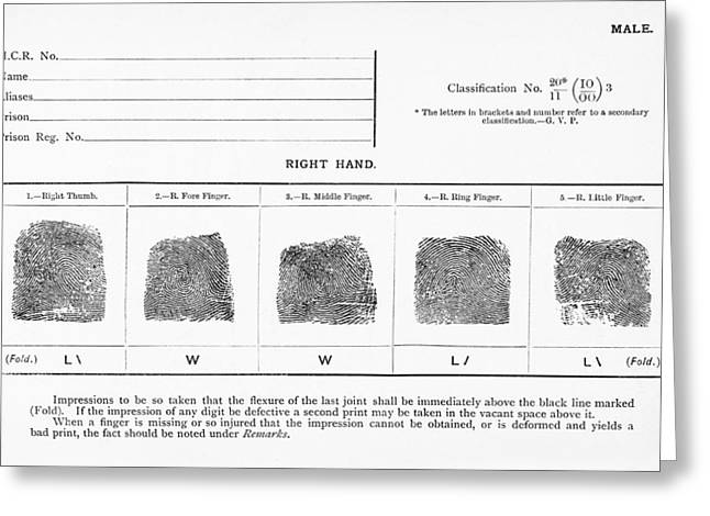 Forensic Greeting Cards - Fingerprints, Historical Image Greeting Card by Middle Temple Library