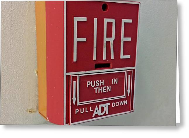Manual Greeting Cards - Fire alarm pull station Greeting Card by Ben Schumin