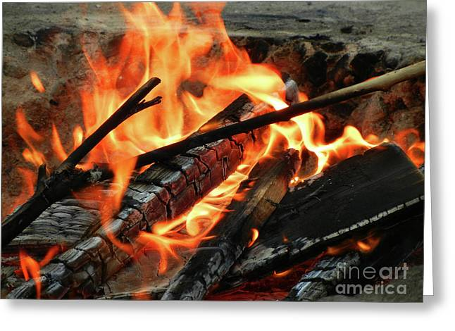 Beach At Night Greeting Cards - Fire at the Beach III Greeting Card by Mariola Bitner