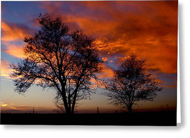 Harvest Time Photographs Greeting Cards - Fire in the Sky Greeting Card by Peter Piatt