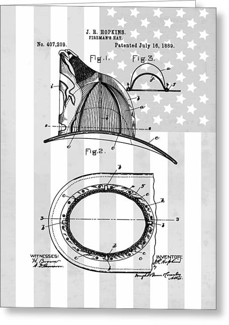 Captain America Greeting Cards - Firemans Helmet Patent Greeting Card by Dan Sproul